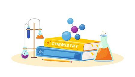Chemie flache Konzept-Vektor-Illustration. Schulfach. Laboranalyse. Naturwissenschaftliche Metapher. Praktische Klasse. Universitätslehrgang. Schülerlehrbuch und Laborflaschenartikel 2D-Cartoon-Objekte Vektorgrafik