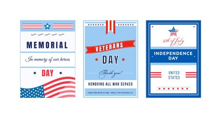 US national holiday poster flat vector templates set. Independence Day. Brochure, booklet pages concept designs pack. National American holiday flyer, leaflets collection
