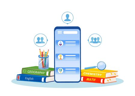 Online tutoring flat concept vector illustration. Distance education. High school subjects learning smetaphor. Remote lessons. Homework help. Mobile phone and textbooks 2D cartoon objects