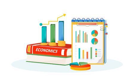 Economics flat concept vector illustration. School subject. Social science learning metaphor. Statistivs class. University course. Student textbook, graphs and pie charts items 2D cartoon objects