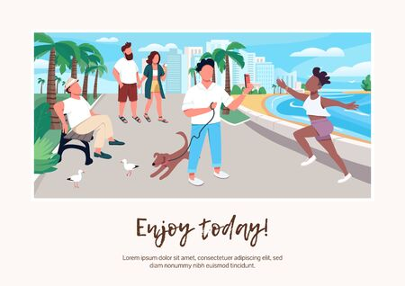 Enjoy today banner flat vector template. Brochure, poster concept design with cartoon characters. People on seafront. Summer vacation urban activity horizontal flyer, leaflet with place for text Vettoriali
