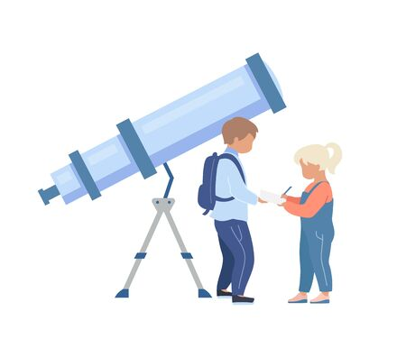 Kids in planetarium flat color vector faceless character. Children near telescope. Learn about universe. Astronomy exhibition isolated cartoon illustration for web graphic design and animation