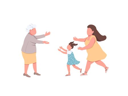 Grandmother welcome relatives flat color vector faceless characters. Mother with daughter visit granny. Happy family reunion isolated cartoon illustration for web graphic design and animation