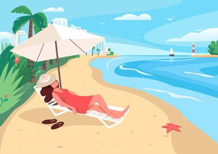 Woman relaxing at sandy beach flat color vector illustration. Summertime leisure. Girl sunbathing 2D cartoon character with city skyscrapers, ocean and tropical palm trees on background