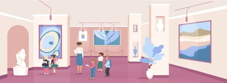 Children on excursion flat color vector illustration. Art gallery exhibition. Public community center. School kids with guide 2D cartoon characters with museum interior on background 矢量图像
