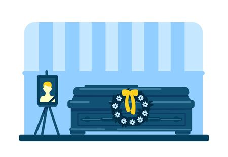 Dead young man coffin and photo flat color vector illustration. Funeral ceremony. Ritual service. Home room 2D cartoon interior with deceased male picture and flowers wreath on background