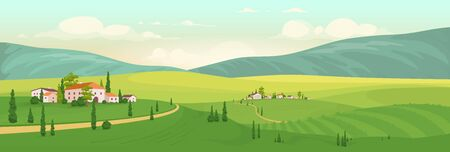 Summer in Italian village flat color vector illustration. Tuscany 2D cartoon landscape with mountains on background. Rural area view with distant country houses and cypress trees. Vineyard scenery Vectores