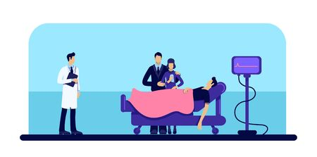 Dead man in hospital flat color vector illustration. Person loss. Family grief. Body in medical clinic. Patient and doctor 2D cartoons character with wheeled bed and cardiogram monitor on background