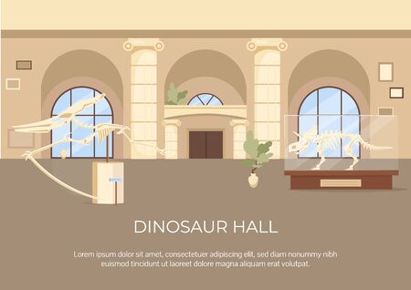 Dinosaur hall poster flat vector template. Fossils and skeleton on display. Brochure, booklet one page concept design with cartoon characters. Archeological exhibition flyer, leaflet