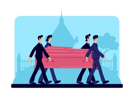 Coffin bearers flat color vector illustration. Funeral procession. Burial ceremony. Ritual service. Male in suits 2D cartoon characters with tombstones and crypt on background