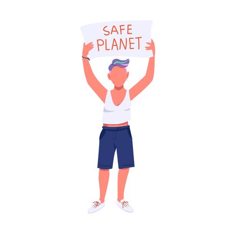Eco activist flat color vector faceless character. Nature protection, environment pollution protest. Young woman holding placard isolated cartoon illustration for web graphic design and animation