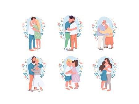 Hugging flat color vector faceless characters set. Happy relatives. Different cute couple. Little brother and sister. Romantic dating. Family isolated cartoon illustrations on white background  イラスト・ベクター素材