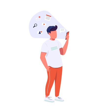 Guy with smartphone flat color vector faceless character. Generation Z lifestyle, online communication. Hipster surfing internet isolated cartoon illustration for web graphic design and animation