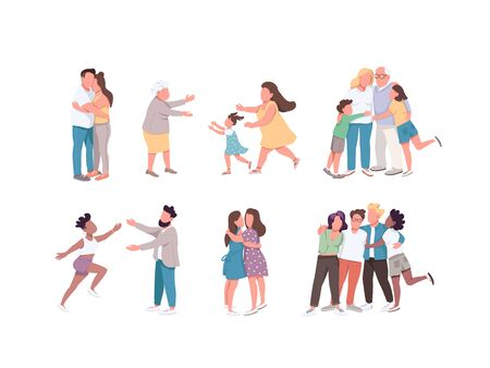 Happy hugging flat color vector faceless characters set. Relationship between relatives. Multi cultural group friendship. Couple cuddle. Family isolated cartoon illustrations on white background
