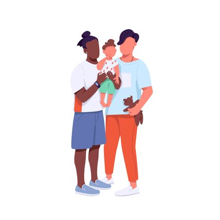 Mixed race family flat color vector faceless characters. African american and caucasian gay couple with child. Generation Z isolated cartoon illustration for web graphic design and animation