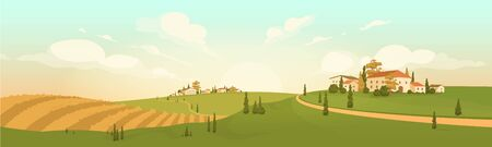 Autumn countryside view flat color vector illustration. Yellow agricultural field 2D cartoon landscape. Hilly scenery with houses and cypress trees. Fall in rural area. Small European towns