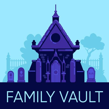 Family vault social media post mockup. Web banner design template. Old stone crypt in cemetery. Booster, content layout with inscription. Poster, print ads and flat illustration Ilustração