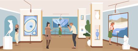 Tourist at gallery exposition flat color vector illustration. Contemporary masterpiece showcase. People in museum. Art gallery visitors 2D cartoon characters with artwork installation on background
