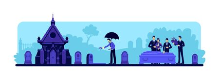 Funeral ceremony flat color vector illustration. Man with flower at cemetery. People at graveyard. Family 2D cartoon characters standing near coffin with tombstones and crypt on background
