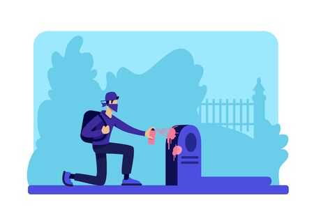 Vandalism flat color vector illustration. Teenage hooligan in graveyard at night. Man damaging tombstone. Male 2D cartoon character with gravestone and trees on background