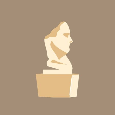 Bust cartoon vector illustration. Museum installation. Cultural classical masterpiece. Historical human head sculpture flat color object. Art gallery exhibit isolated on brown background