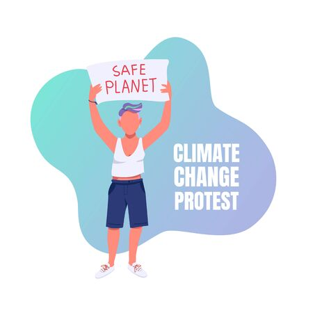 Climate change protest social media post mockup. Save planet phrase. Web banner design template. Eco activism booster, content layout with inscription. Poster, print ads and flat illustration 일러스트