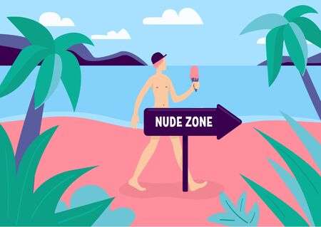 Nudist zone flat color vector illustration. Naked man relax in resort. Young male with bare body on private beach. Topless person. Naturist 2D cartoon character with landscape on background Çizim