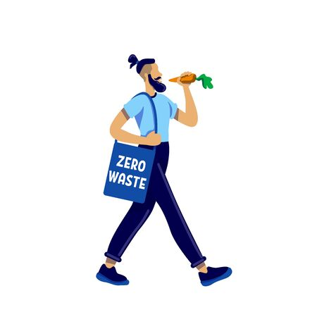 Eco activist flat color vector faceless character. Hipster with beard eat vegetable. Activism for zero waste. Male vegan isolated cartoon illustration for web graphic design and animation Vetores