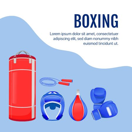 Fighter gear social media post mockup. Boxing goods. Web banner design template. Professional sport equipment booster, content layout with inscription. Poster, print ads and flat illustration