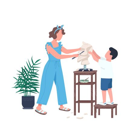 Family sculpting flat color vector faceless character. Mother help son carving marble. Leisure for parent and kid. Creative hobby isolated cartoon illustration for web graphic design and animation Vettoriali