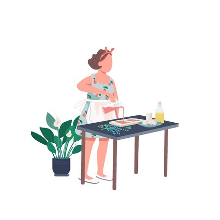 Creative woman flat color vector faceless character. Housewife make DIY soap. Recipe for craft. Creative self expression. Hobby isolated cartoon illustration for web graphic design and animation