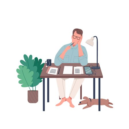 Freelance journalist flat color vector faceless character. Male author think about novel. Writer with essay. Creative hobby isolated cartoon illustration for web graphic design and animation