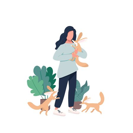 Veterinarian flat color vector faceless character. Domesticated carnivore animal cubs. Woman with fennec foxes. Exotic pets isolated cartoon illustration for web graphic design and animation