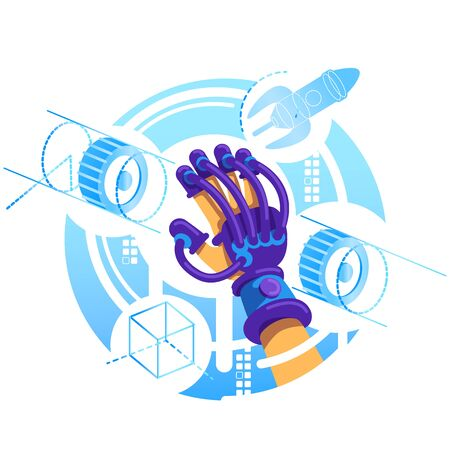 VR glove 2D vector web banner, poster. Device for interactive experience with AR flat object on cartoon background. Simulator for entertainment. Mixed reality equipment colorful scene