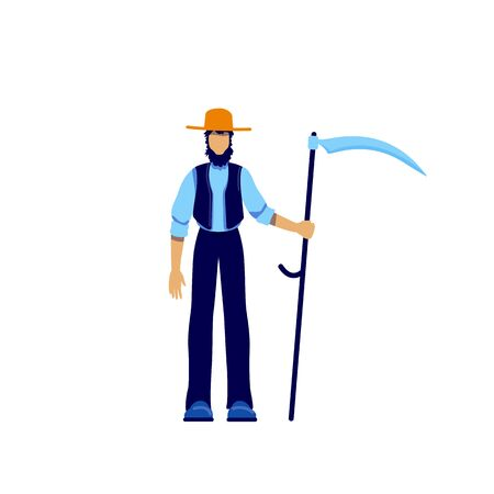 Amish flat color vector faceless character. Male farmer in harvest period. Worker lifestyle. Old fashioned man in hat with scythe isolated cartoon illustration for web graphic design and animation Vektorové ilustrace