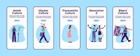 Subculture on boarding mobile app screen flat vector template. Alternative fashion and lifestyle. Walk through website steps with characters. UX, UI, GUI smartphone cartoon interface, case prints set