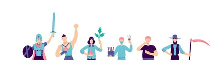 Different subcultures flat color vector faceless characters set. Teenage cosplayer. Athlete winner. Acupuncture doctor. Alternative lifestyle isolated cartoon illustrations on white background Vektorové ilustrace