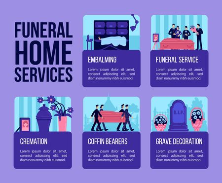 Funeral home services flat color vector informational infographic template. Poster, booklet, PPT page concept design with cartoon characters. Advertising flyer, leaflet, info banner idea