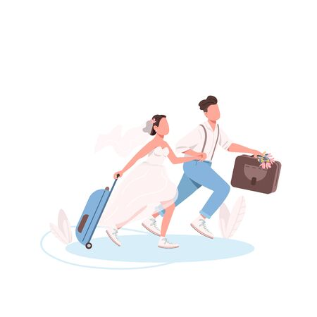Just married couple with suitcases flat color vector faceless characters. Wife and husband honeymoon. Bride and groom run together isolated cartoon illustration for web graphic design and animation