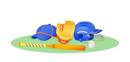 Baseball gear flat concept vector illustration. Bat and ball for softball. Protection helmet for game. Sports equipment 2D cartoon objects for web design. League match creative idea Illustration