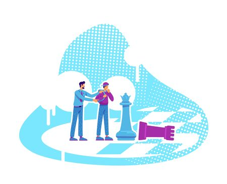 Coaching flat concept vector illustration. Personnel training. Teacher and student on chess board 2D cartoon characters for web design. Knowledge transfer. One-on-One mentoring creative idea Vetores