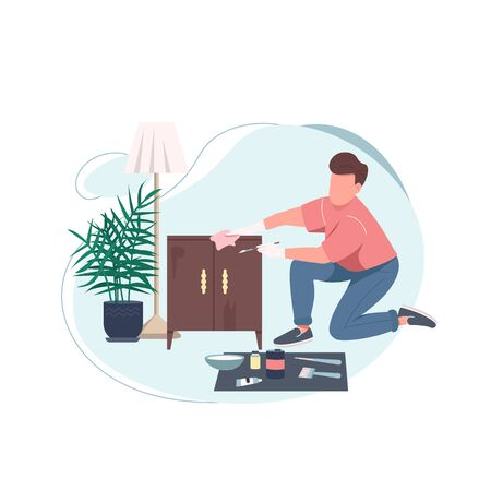 Handyman flat color vector faceless character. Fix cabinet. Restore drawer. Repair service. Creative hobby. Furniture renovation isolated cartoon illustration for web graphic design and animation