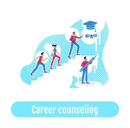 Students teaching flat concept vector illustration. Career counseling phrase. Education coaching. High school pupils climbing ladder 2D cartoon characters for web design. Group mentoring creative idea