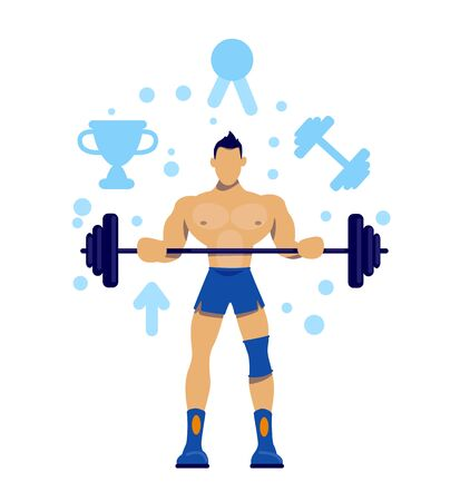 Sportsman flat concept vector illustration. Physical wellness. Bodybuilding training. Exercise for championship. Athlete 2D cartoon characters for web design. Gym workout creative idea