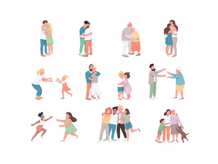Diversity flat color vector faceless characters set. Same sex and heterosexual couple. People hugging. Affection between siblings. Community union isolated cartoon illustrations on white background
