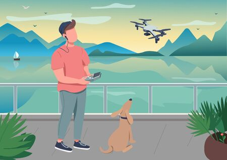 Drone photography flat color vector illustration. Remote control for robot with propeller. Technology to film video at seascape. Content creator 2D cartoon character with interior on background