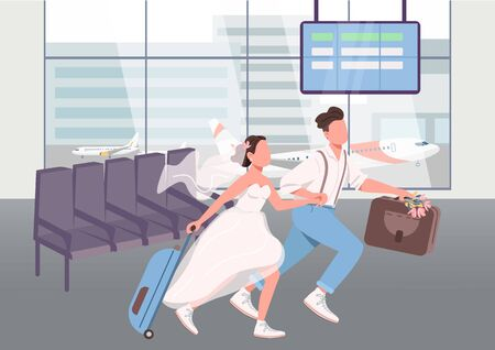Newlyweds in airport terminal flat color vector illustration. Wife and husband going on honeymoon vacation. Young married couple 2D cartoon characters with airplane on background