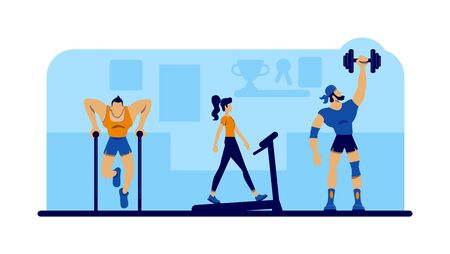Gym workout with equipment 2D vector web banner, poster. Woman doing cardio exercise. Subculture flat characters on cartoon background. Alternative lifestyle printable patches, colorful web elements Illustration