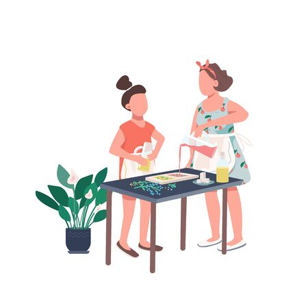 Family soap making flat color vector faceless character. Mother and daughter make DIY recipe. Workshop on craft. Creative hobby isolated cartoon illustration for web graphic design and animation