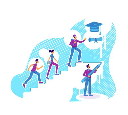 Students teaching flat concept vector illustration. Academic degree getting. Education coaching. High school pupils climbing ladder 2D cartoon characters for web design. Group mentoring creative idea